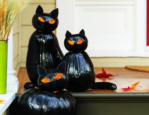 Spooky glossy black cat Jack-O'-Lanterns
