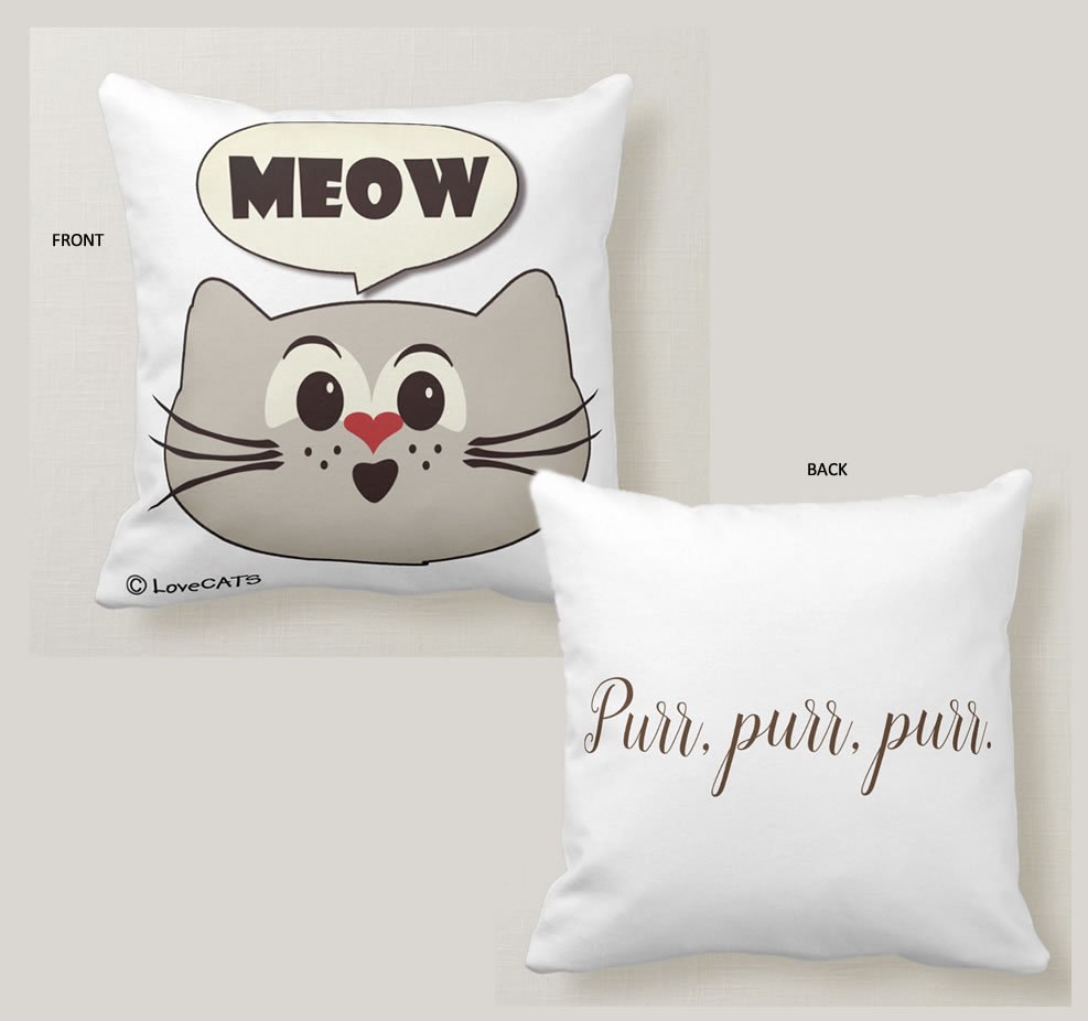 """Meow"" square pillow. Purrfect gift for cat people."