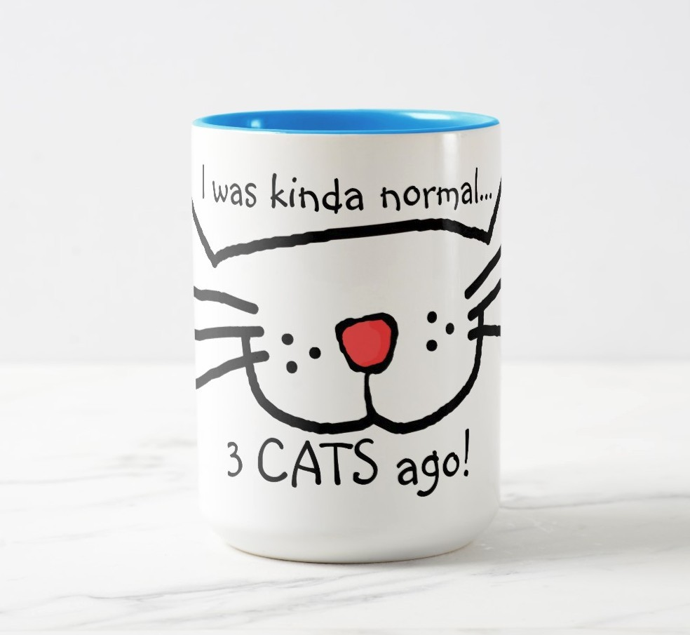 I was normal 3 cats ago! MUG. Purrfect gift for cat moms.