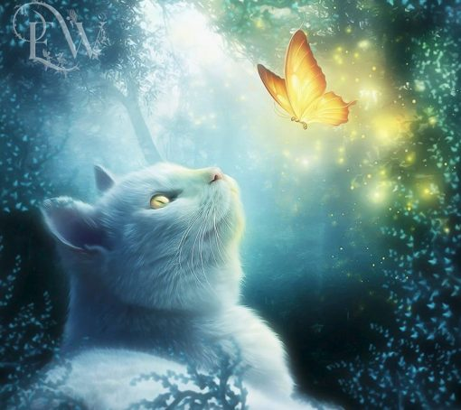 White cat and butterfly fantasy portrait art print in blue by EnchantedWhispersArt